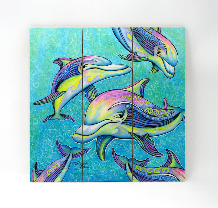 Rainbow Dolphins Wall Art