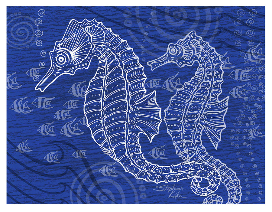 Seahorses One Color Print