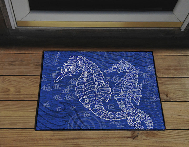 Seahorses One Color Door Mat