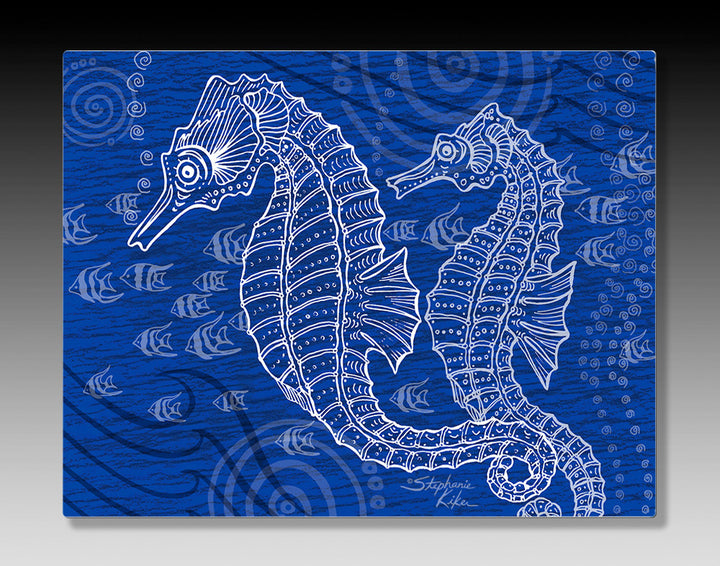 Seahorses One Color Aluminum Wall Art