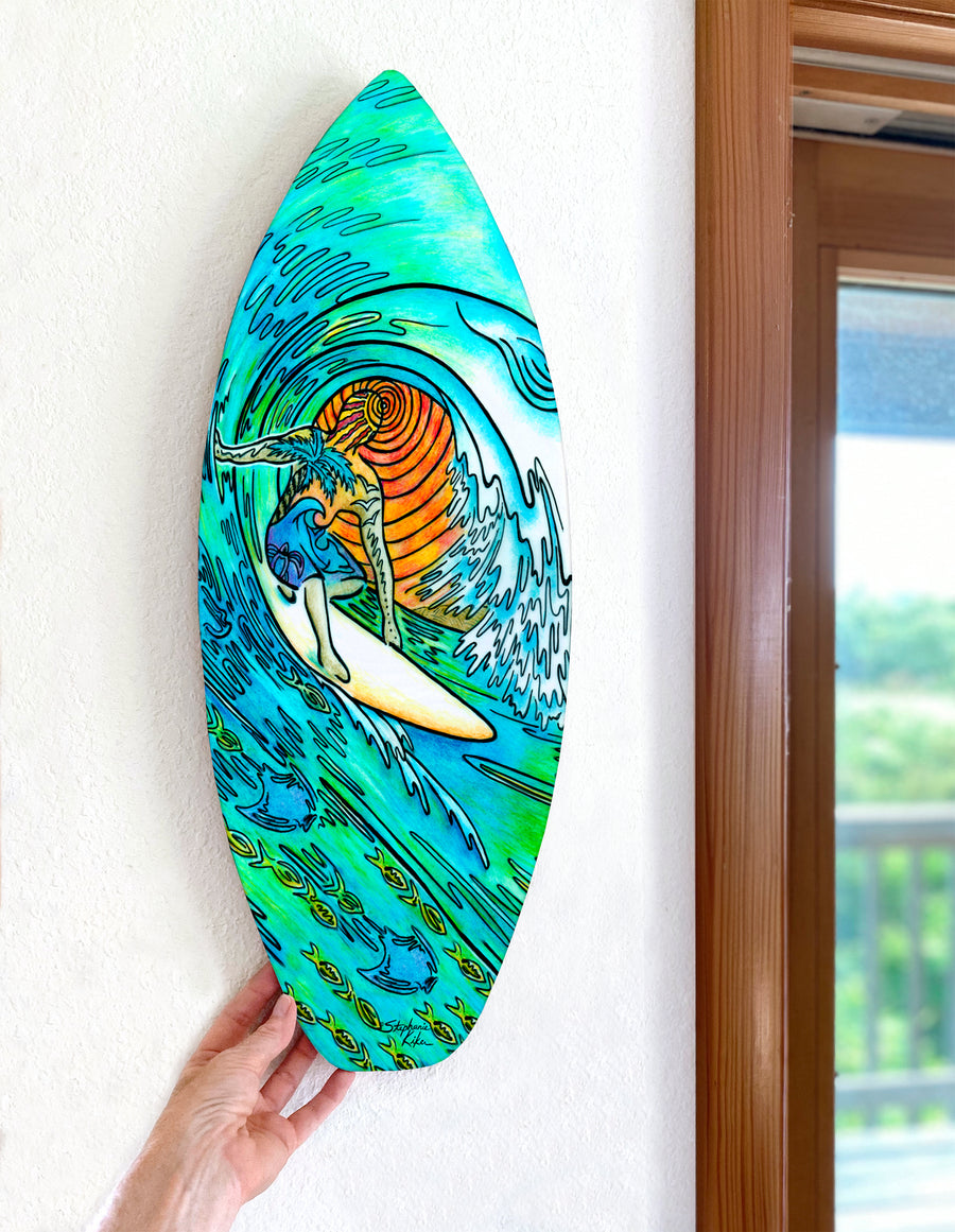 Copy of Sunset Surfer Surfboard Wall Art