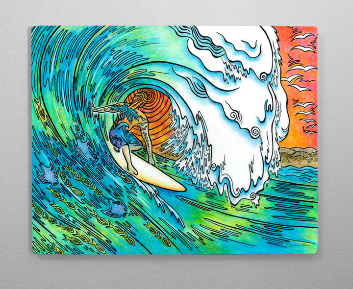 Sunset Surfer Aluminum Wall Art