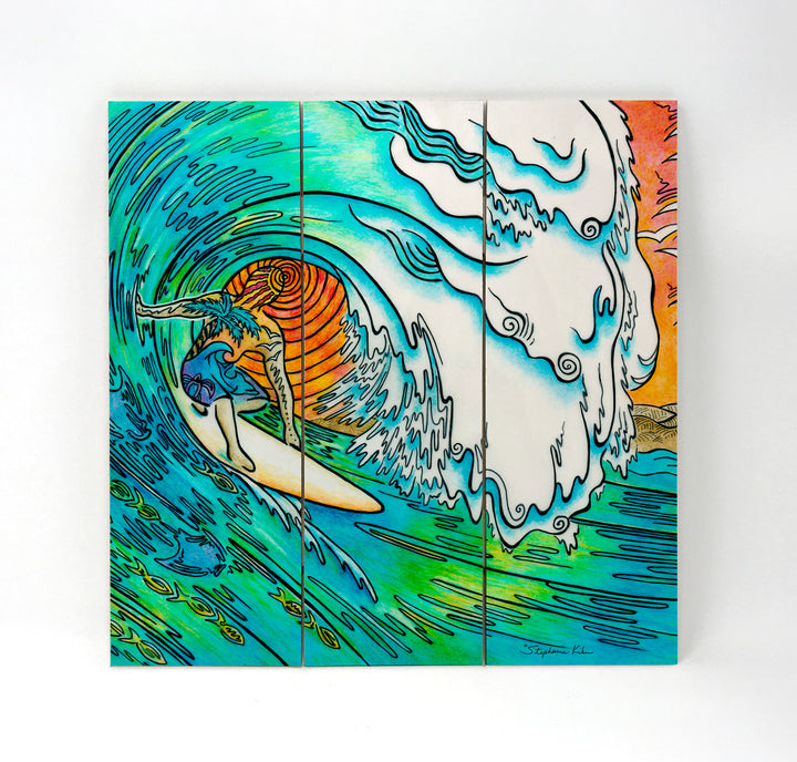 Sunset Surfer Wall Art