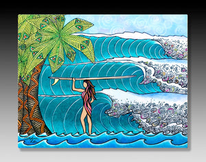 Surfer Girl Aluminum Wall Art