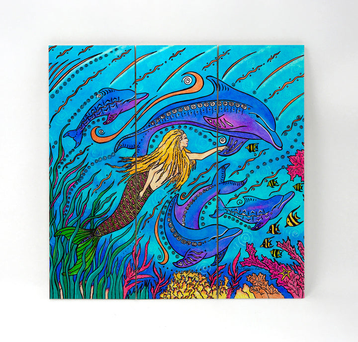 Swimming with Dolphins Wall Art