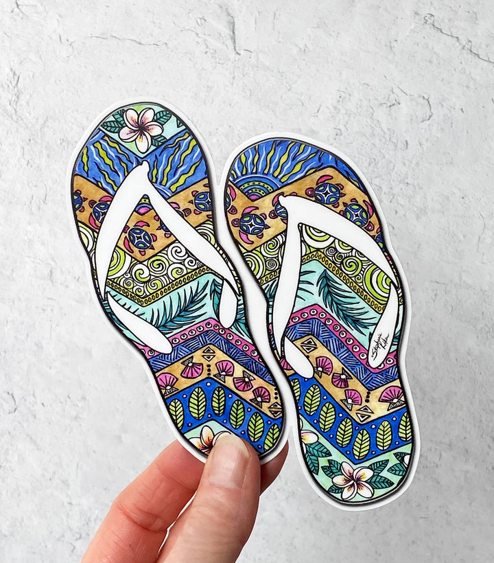 Tropical Flip Flops Sticker