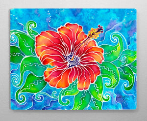 Tropical Hibiscus Aluminum Wall Art
