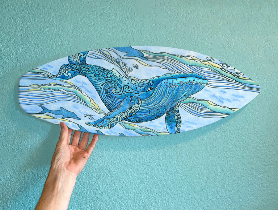 Whale Watch Surfboard Wall Art