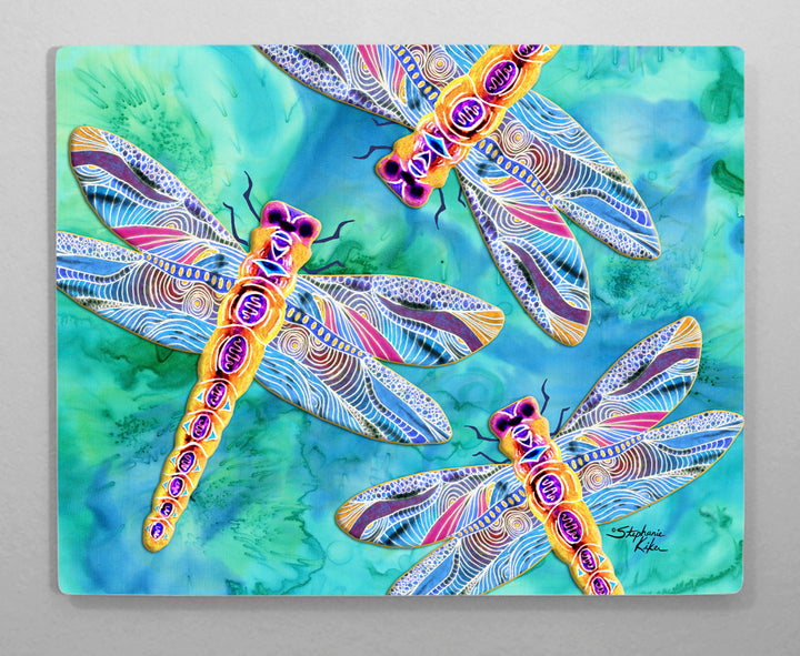 Yellow Dragonflies Aluminum Wall Art