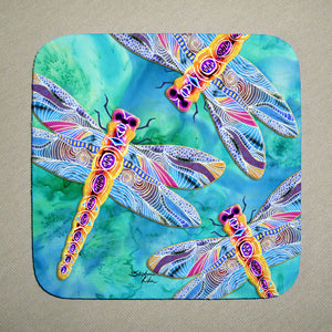 Yellow Dragonflies Coaster