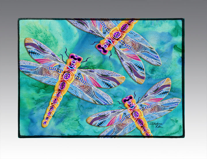 Yellow Dragonflies Door Mat