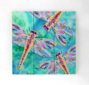 Yellow Dragonflies Wall Art - Wood Triptych