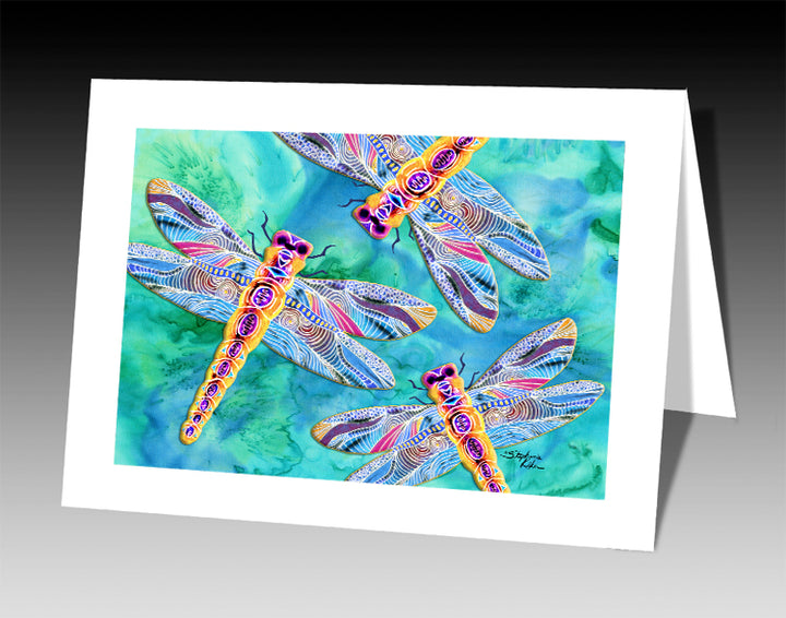 Yellow Dragonflies Notecard