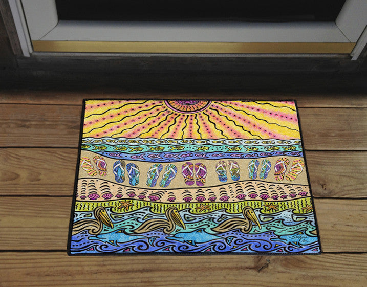 Beach Time Flip Flops Door Mat