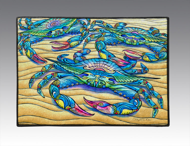 Blue Crabs Door Mat
