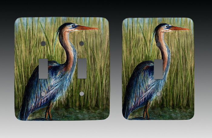 Blue Heron Light Switch Cover