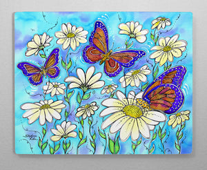 Butterflies on Daisies Aluminum Wall Art