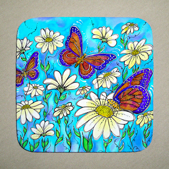 Butterflies on Daisies Coaster