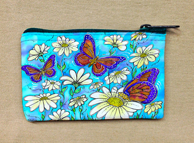 Butterflies on Daisies Coin Bag