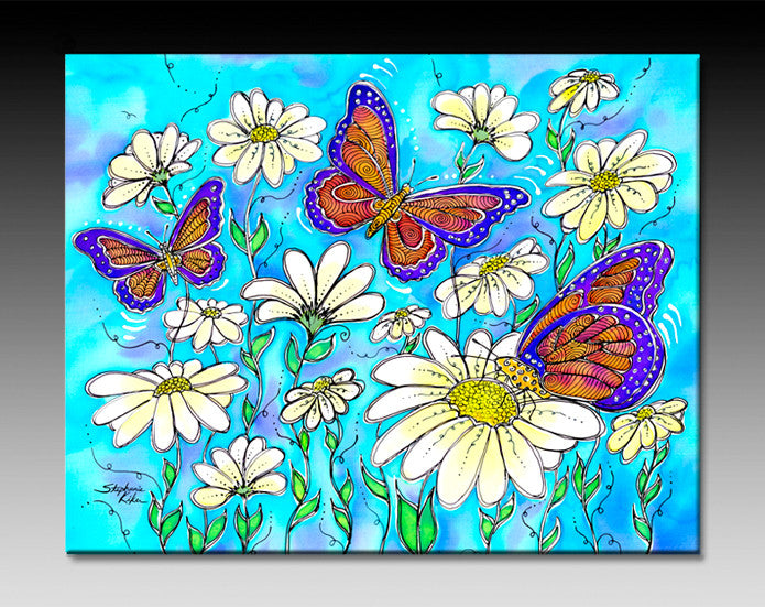 Butterflies on Daisies Ceramic Tile