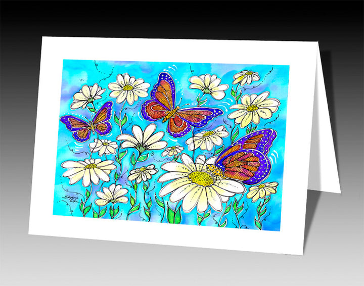Butterflies on Daisies Notecard