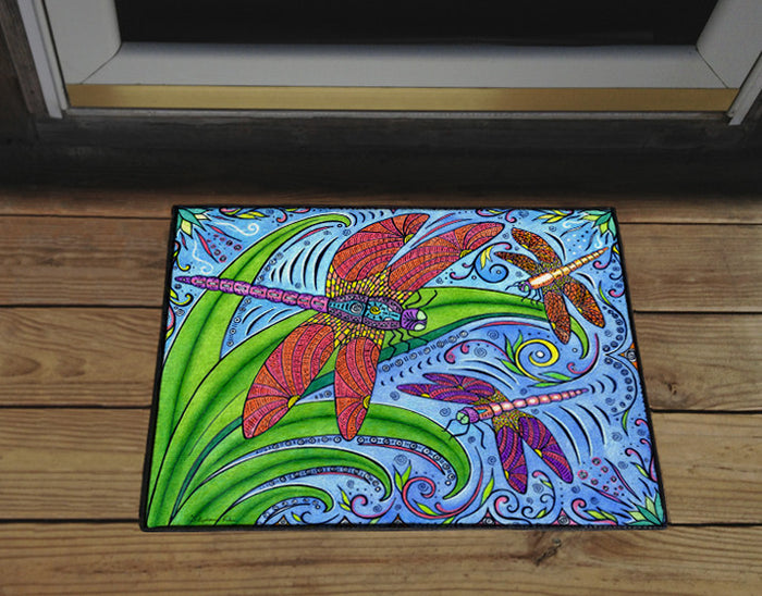 Dancing Dragonflies Door Mat