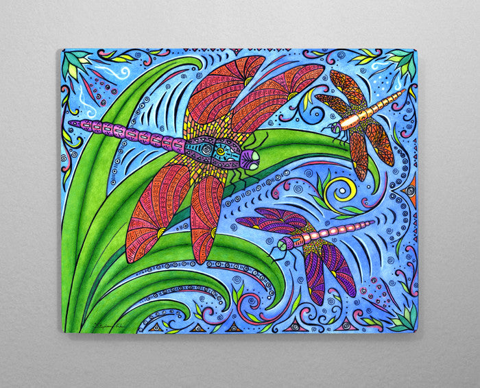 Dancing Dragonflies Aluminum Wall Art