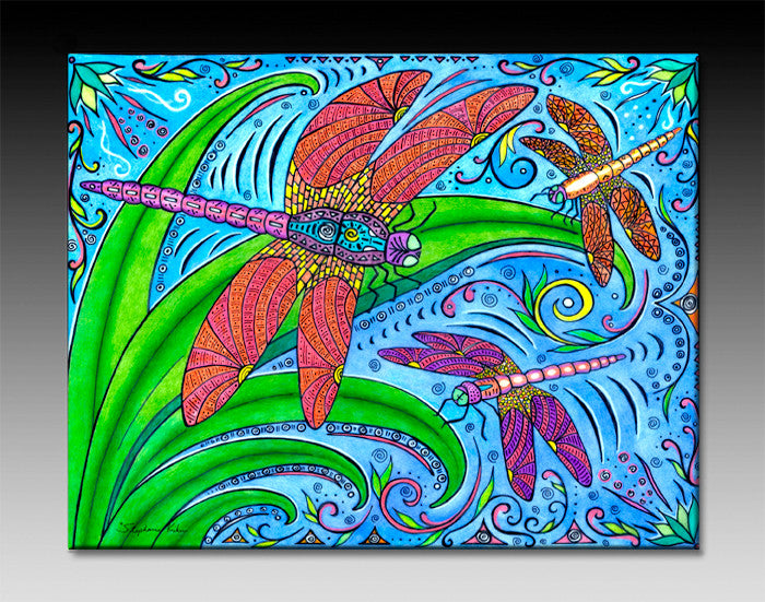 Dancing Dragonflies Ceramic Tile