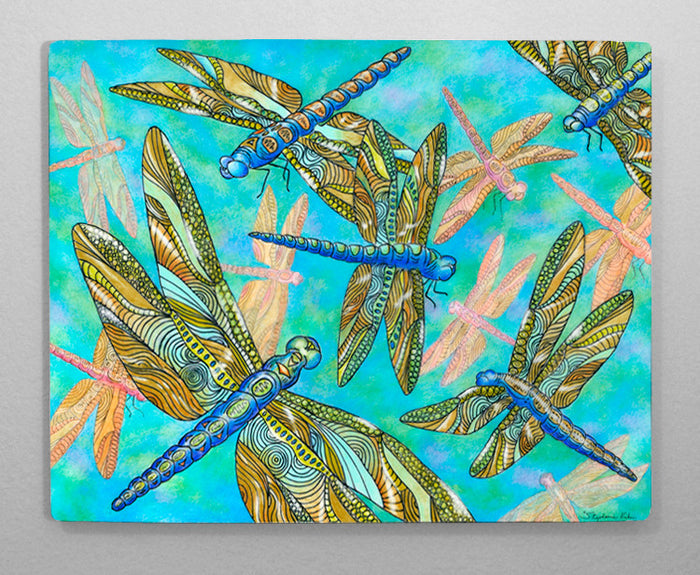 Dragonfly Gathering Aluminum Wall Art