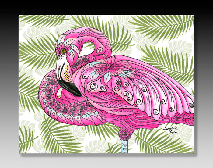 Flamingo Flowers Aluminum Wall Art