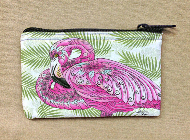 Flamingo Flowers Coin Bag