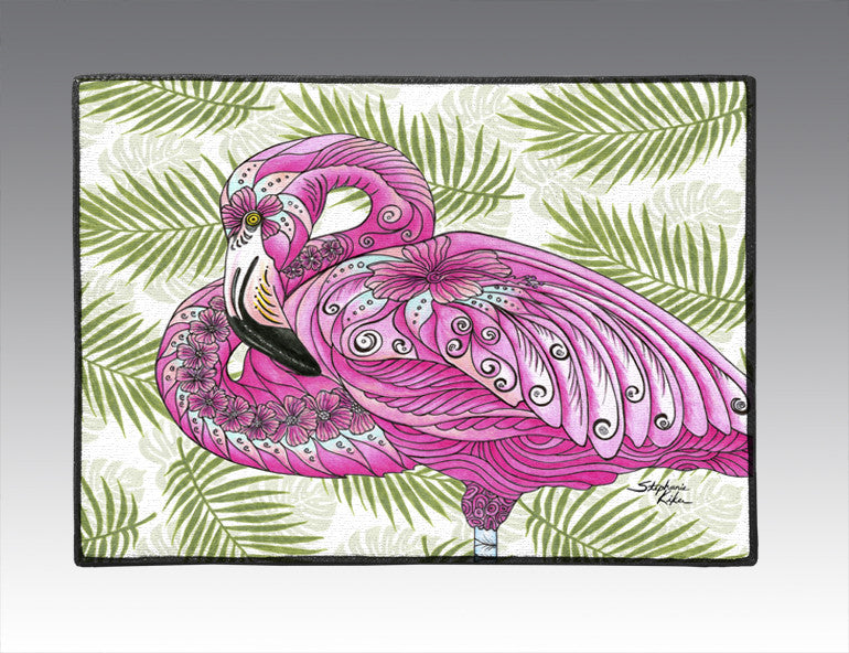 Flamingo Flowers Door Mat