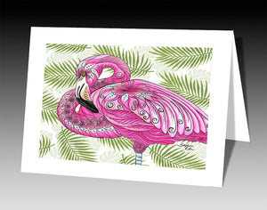 Flamingo Flowers Notecard