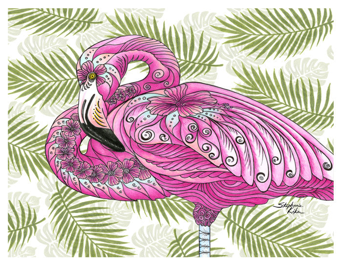 Flamingo Flowers Print