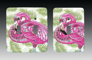 Flamingo Flowers Light Switch Cover