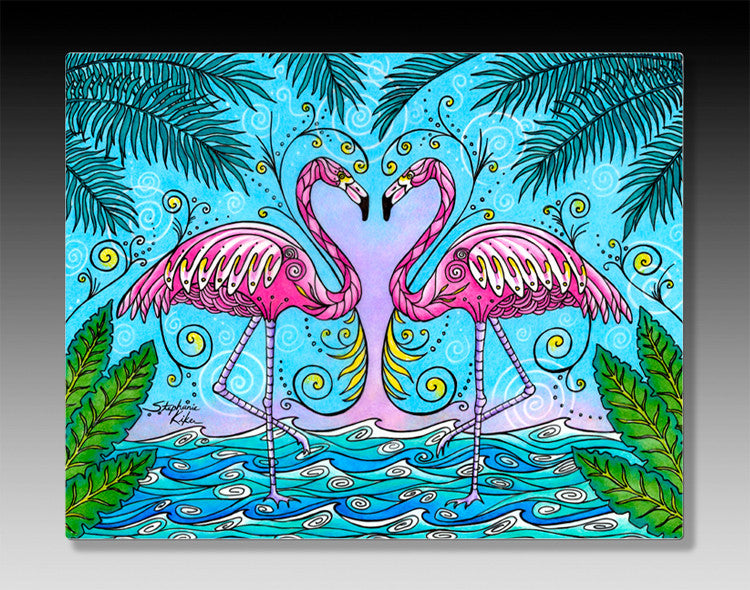 Flamingo Love Aluminum Wall Art