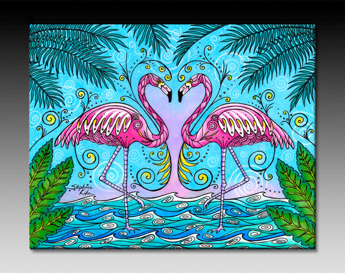 Flamingo Love Ceramic Tile