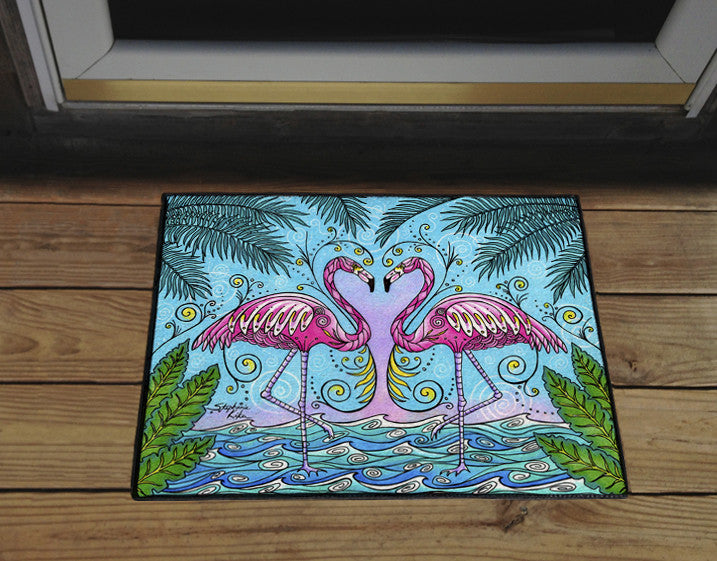 Flamingo Love Door Mat