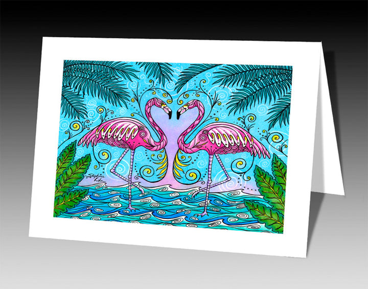 Flamingo Love Notecard