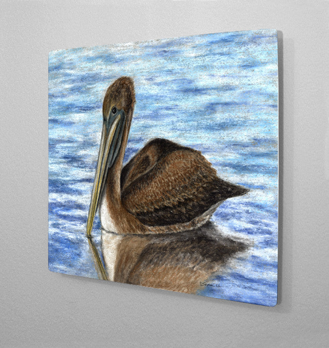 Harbor Pelican Aluminum Wall Art