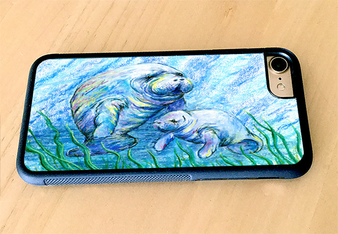 Manatees in Grass iPhone Case