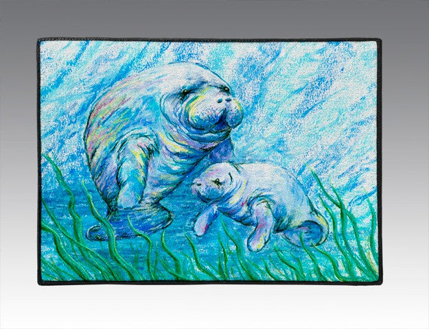 Manatees in Grass Door Mat