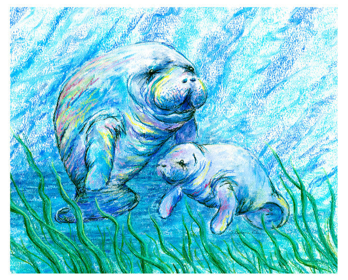 Manatees in Grass Print