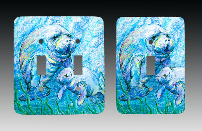 Manatees in Grass Light Switch Cover