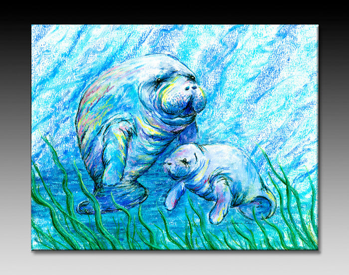 Manatees in Grass Ceramic Tile