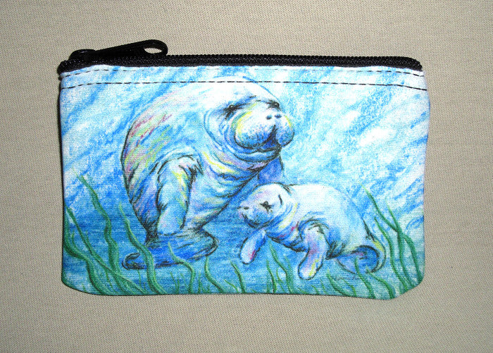 Manatees in Grass Coin Bag