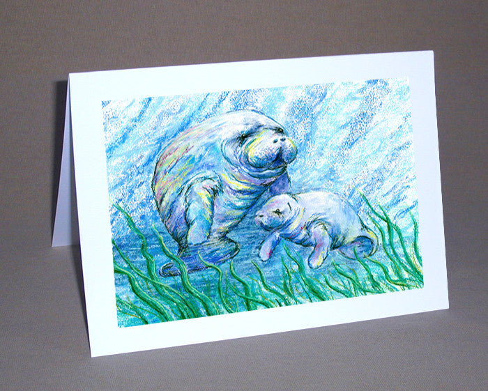 Manatees in Grass Notecard