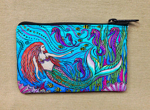 Mermaid and Seahorses Coin Bag
