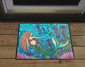 Mermaid and Seahorses Door Mat
