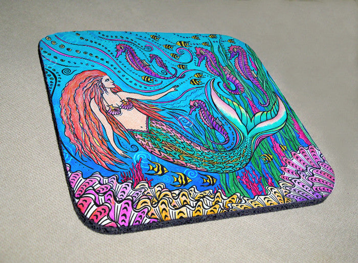 Mermaid and Seahorses Coaster